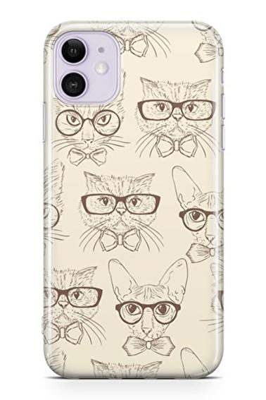 Lopard Apple İphone 11 Kılıf Karikatür Kediler Kapak Renkli